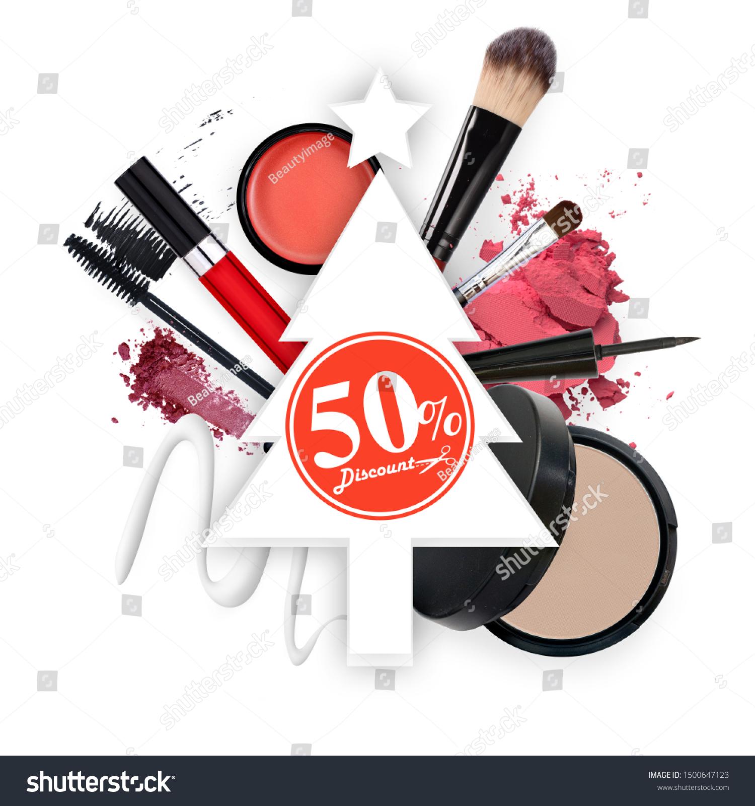 Make Skincare Cosmetics Christmas Tree Silhouette Stock Photo Edit Now 1500647123