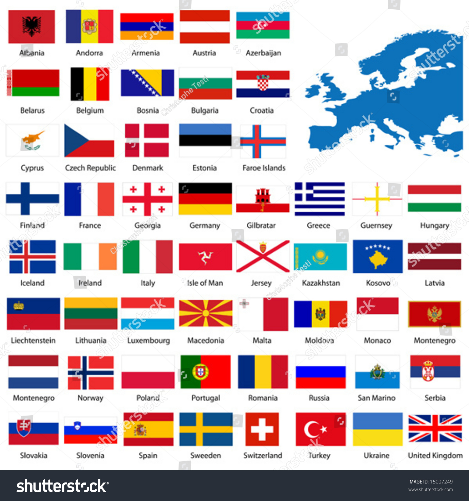 Official List All European Country Flags Stock Vector