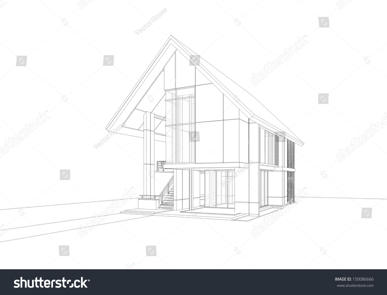 Wireframe Drawing Tropical Modern House Stock Illustration