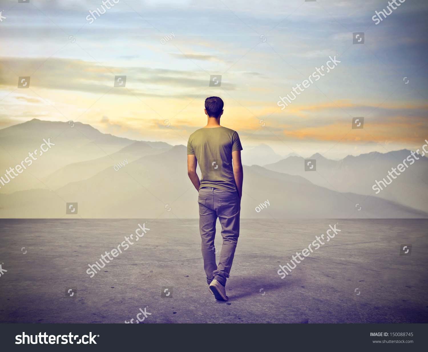 Man Walking Alone In Nature