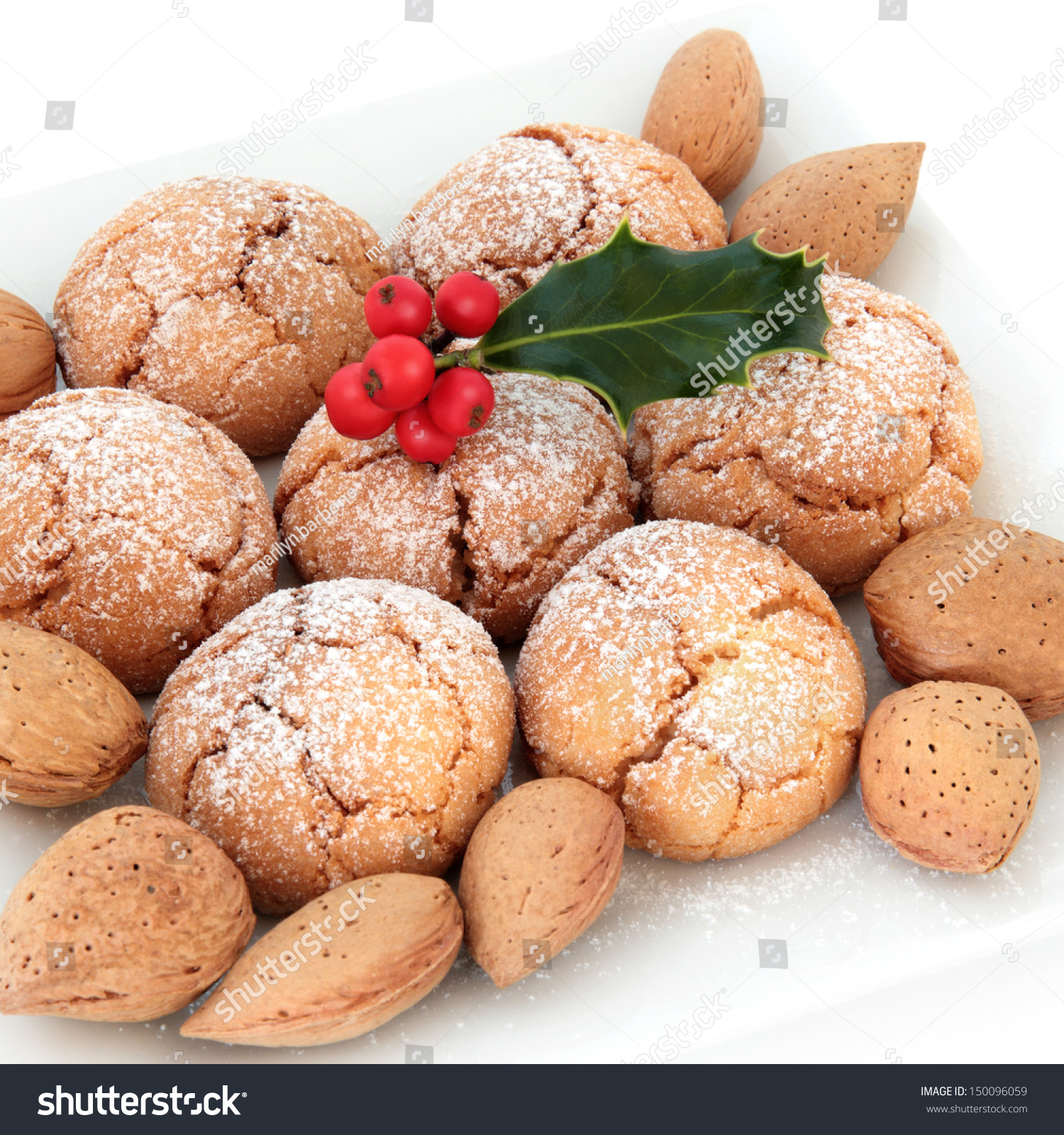 Amaretti Biscuits Almond Nuts Holly Berry Stock Photo Edit Now