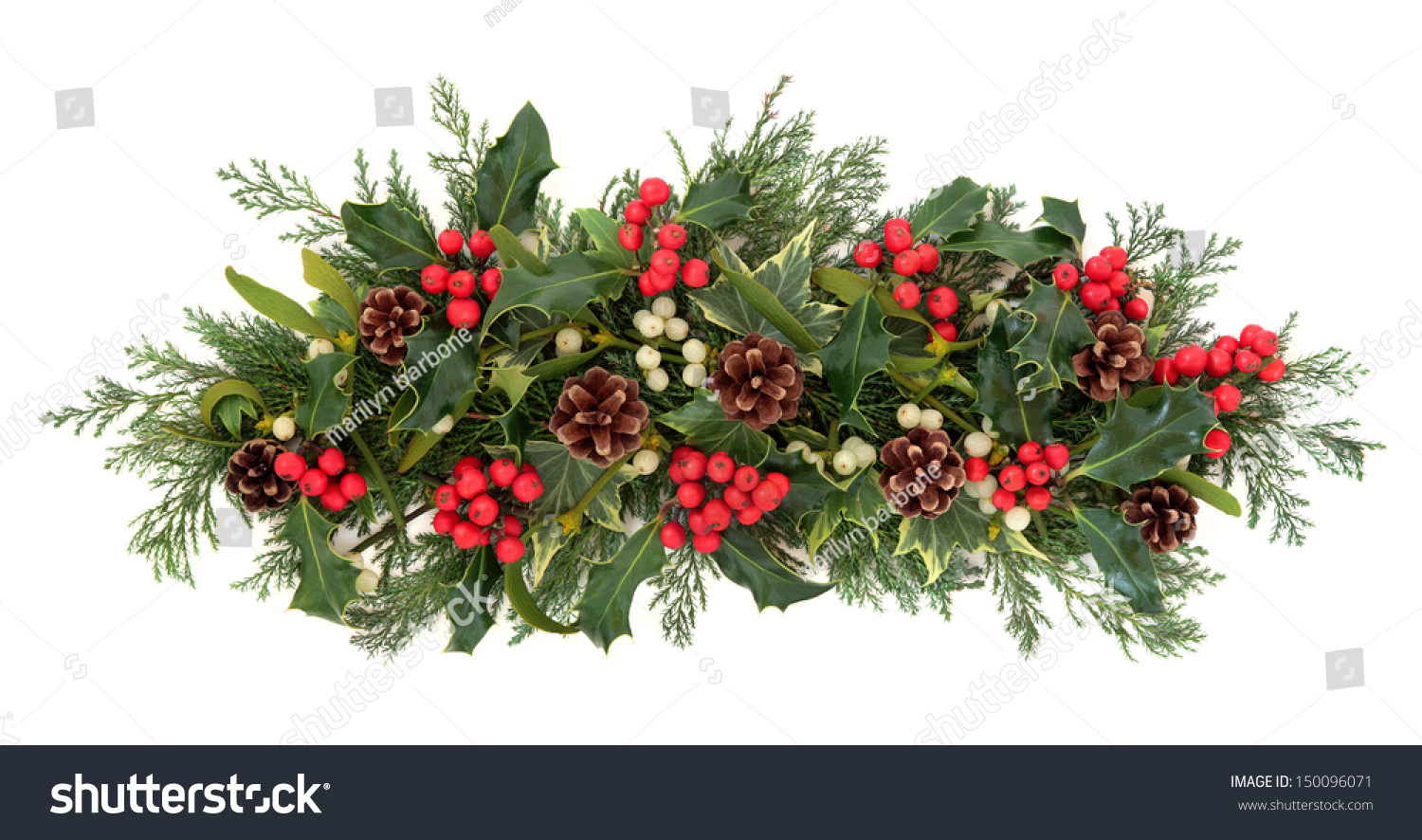 christmas floral decoration with holly  ivy  mistletoe