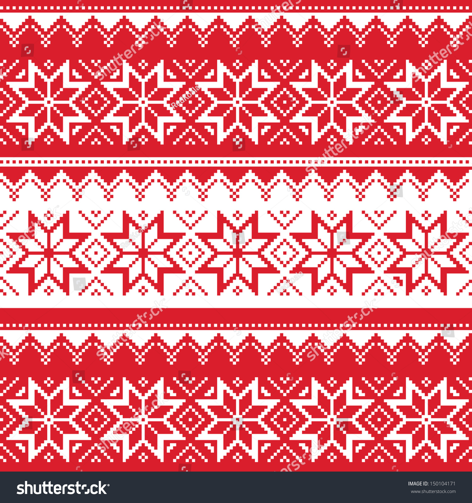 Nordic Seamless Christmas Red Pattern Stock Vector ...