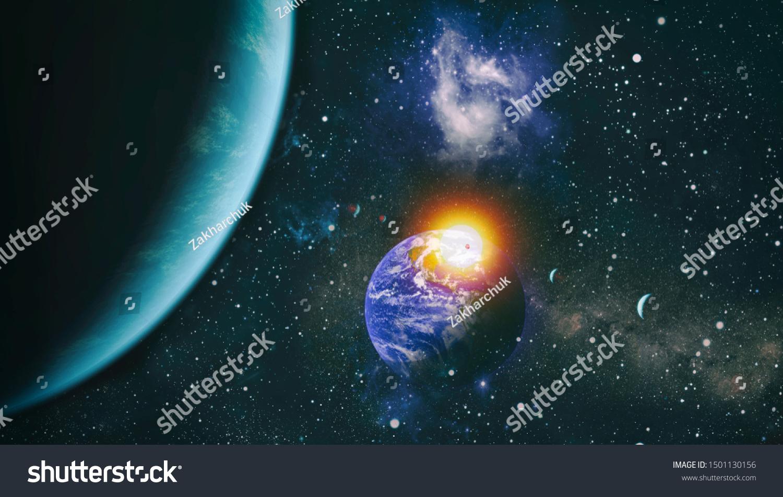 Nebula Night Starry Sky Rainbow Colors Stock Photo Edit Now