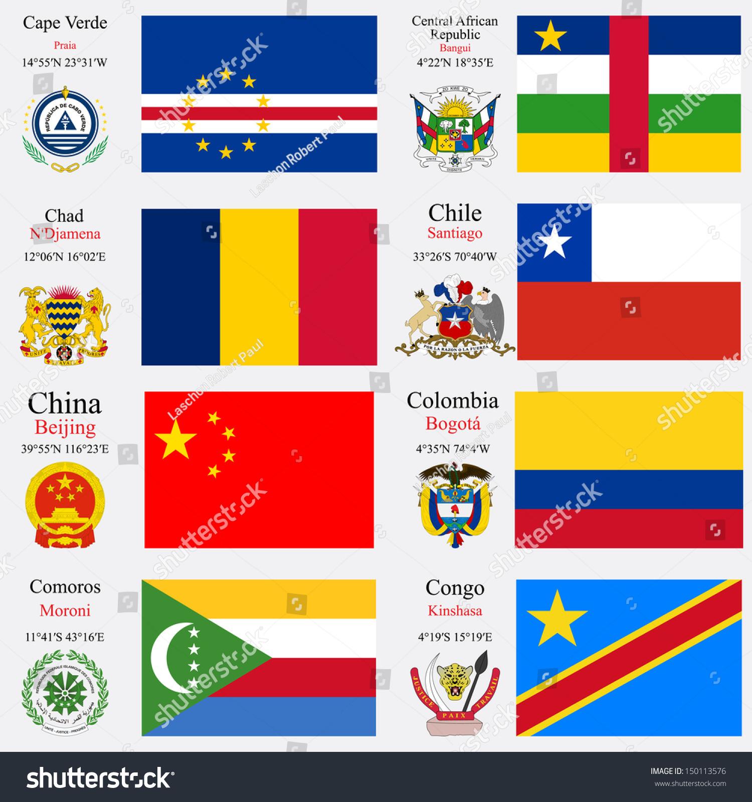 World Flags Cape Verde Central African Stock Illustration - Cape verde coordinates