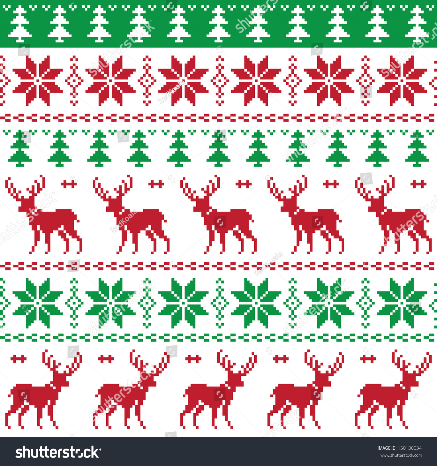 Seamless fir tree scandinavian pattern textile background wrapping - Nordic Seamless Pattern With Deer And Christmas Tree