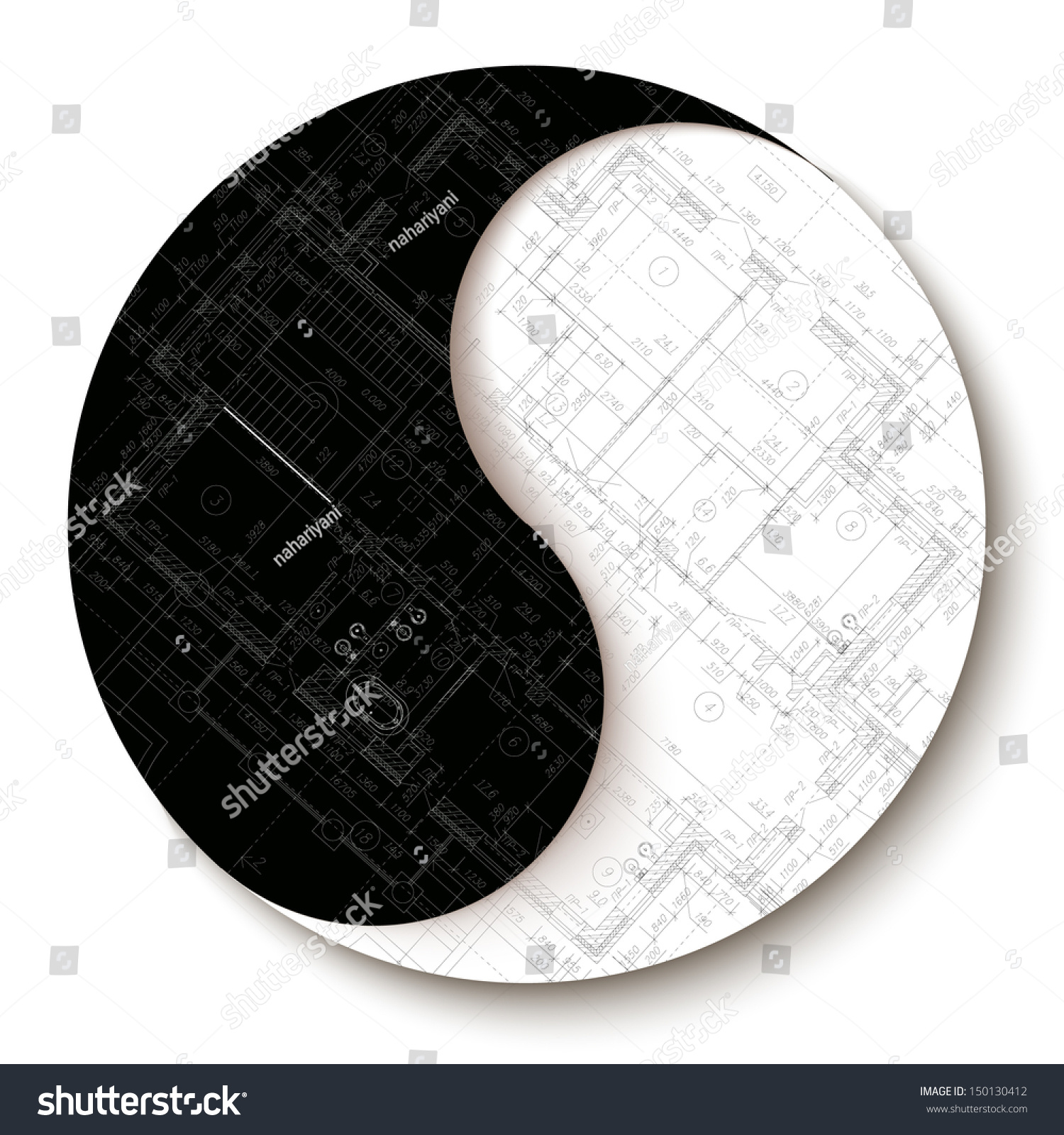 Template with architectural design elements and yin yang for Architecture yin yang