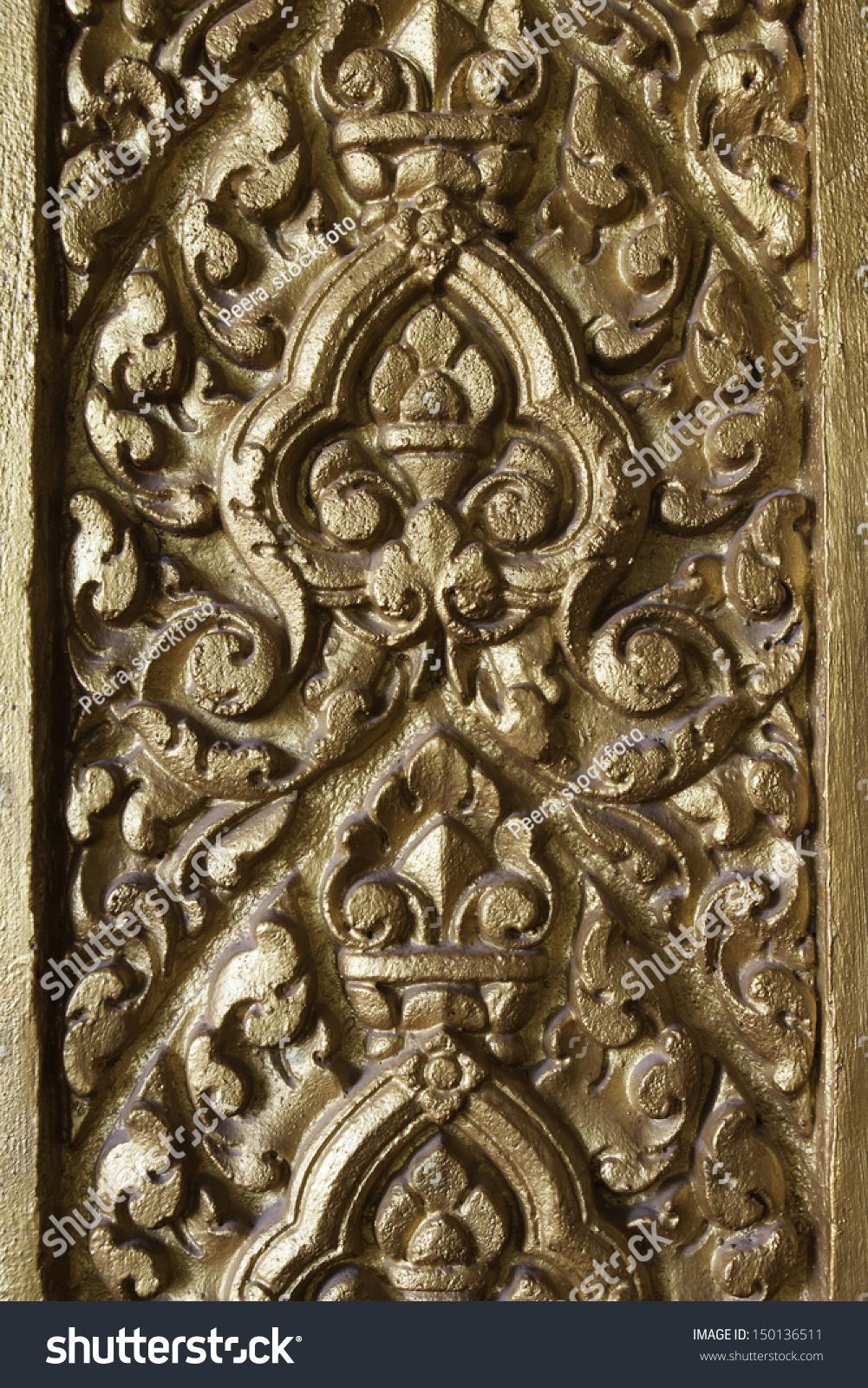 Royalty free handmade carvings of cambodia patternu