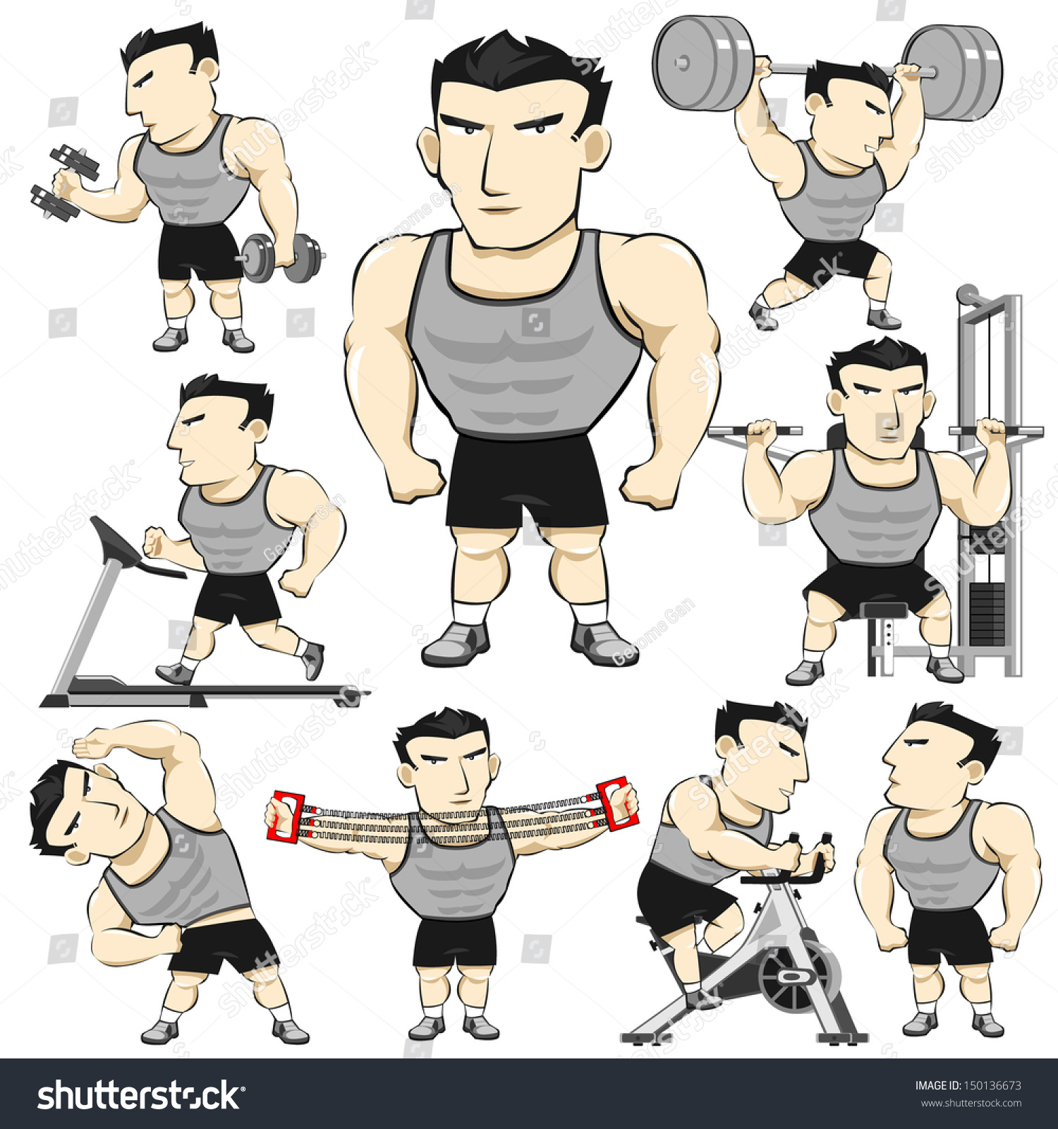 Fitness man activities pack cartoon stock vector 150136673 - Fitness cartoon pics ...