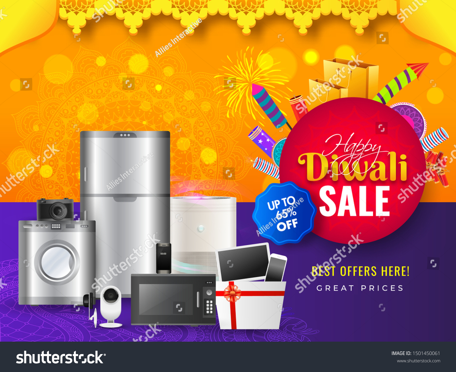 Home Appliance Electronic Sale Banner Poster Stock Vector Royalty Free 1501450061