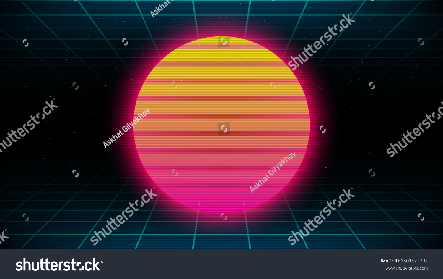Retrowave Synthwave Vaporwave Yellow Pink Gradient Stock Vector Royalty Free 1501522307
