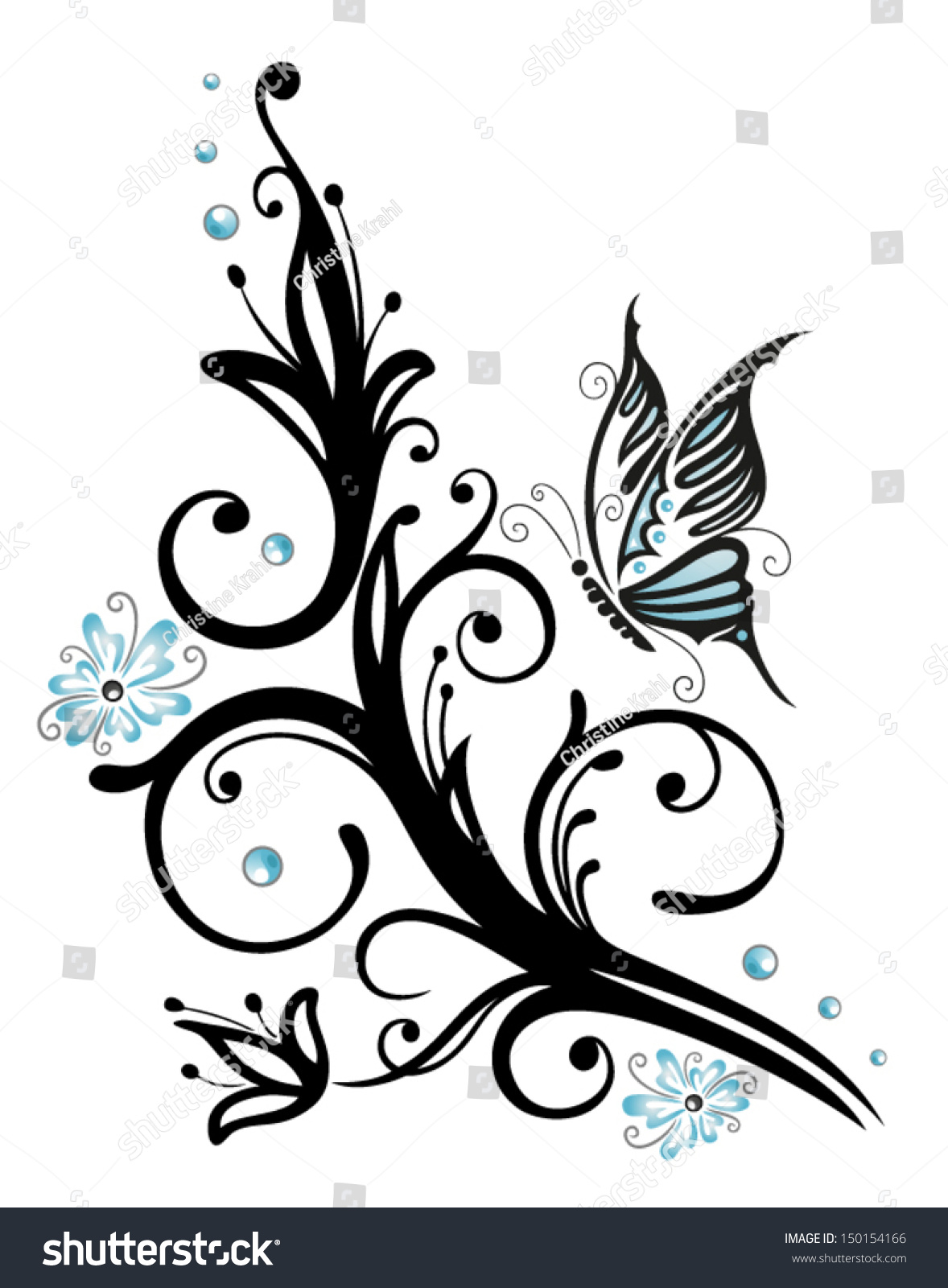 Black blue flowers butterfly tattoo style stock vector 150154166 black and blue flowers with butterfly tattoo style dhlflorist Images