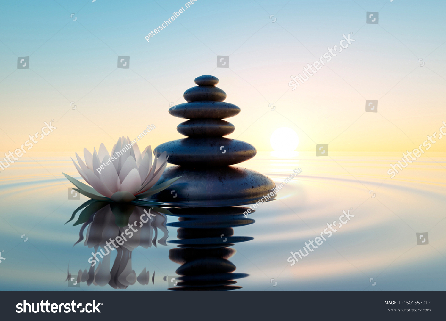 Stack of stones in calm water with lotus flower - concept of meditation - 3D illustration #1501557017