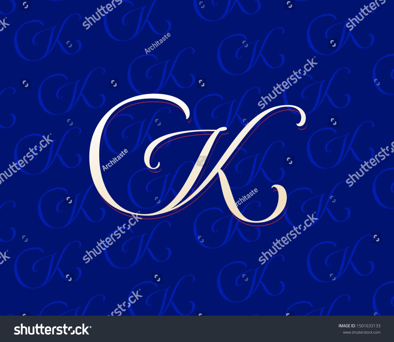 Capital K Letter Monogram Original Calligraphic Stock Vector