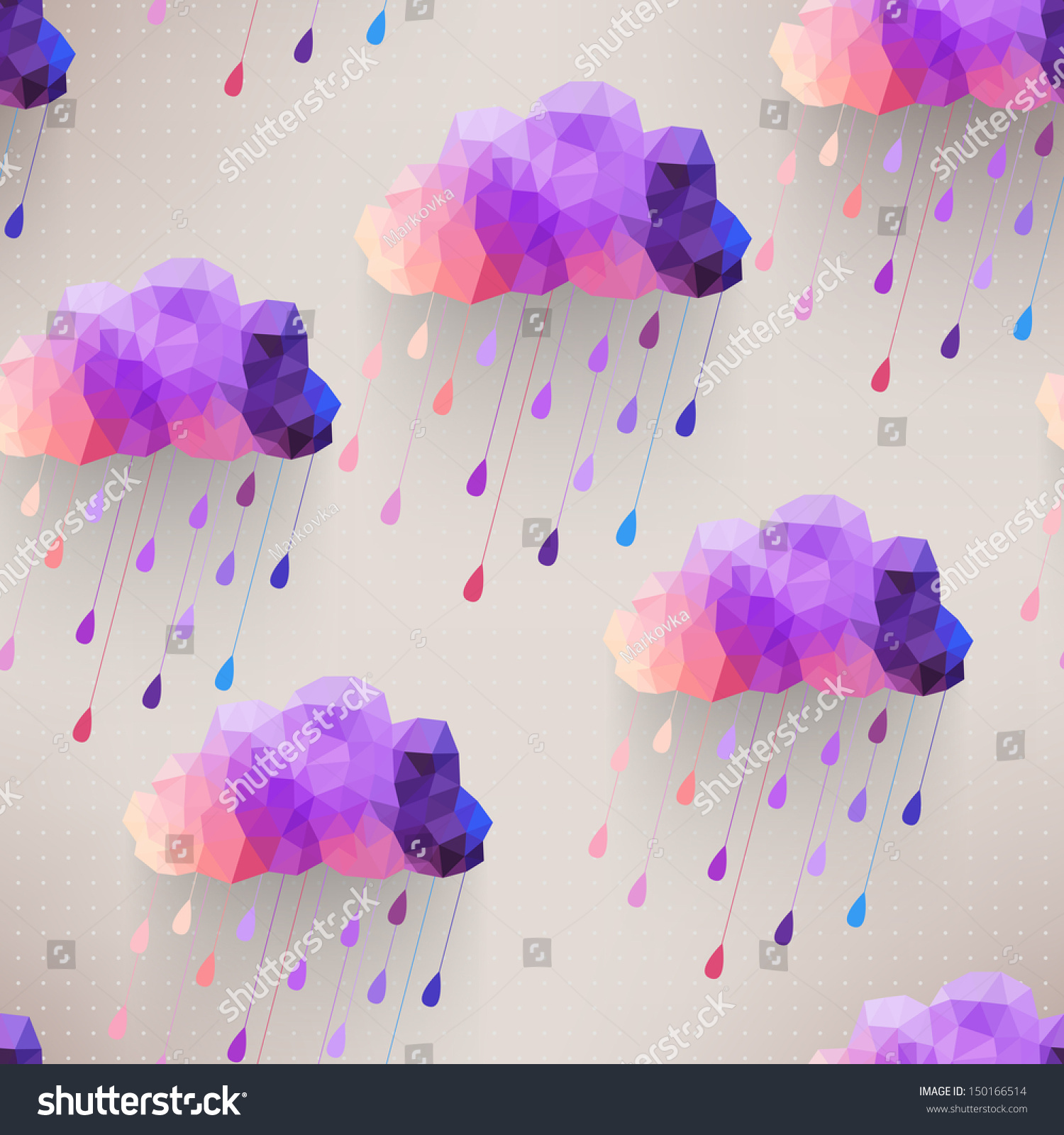 Retro Cloud Seamless Pattern With Rain Symbol, Hipster ...