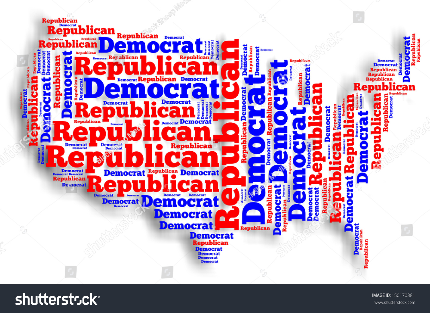 Word Cloud Map United States America Stock Illustration - Us map by political party