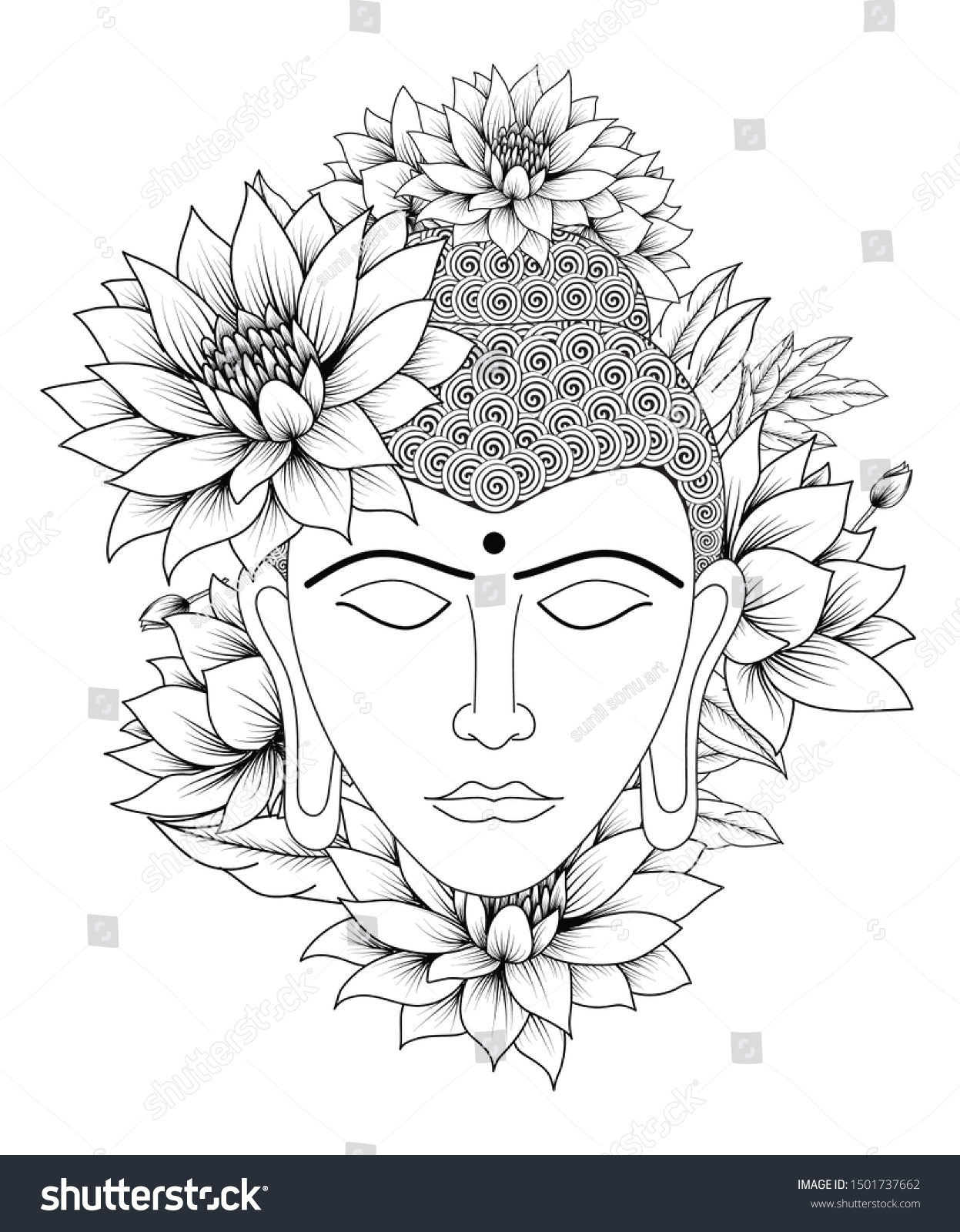 Buddha Tattoo Picture drawing buddha tattoo black art buddha stock vector (royalty