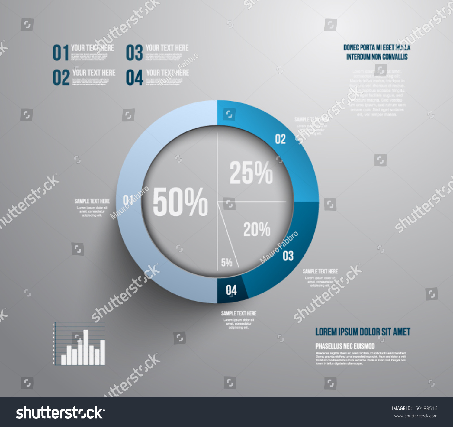 Pie Chart Graphic Template Business Design Stock Vector