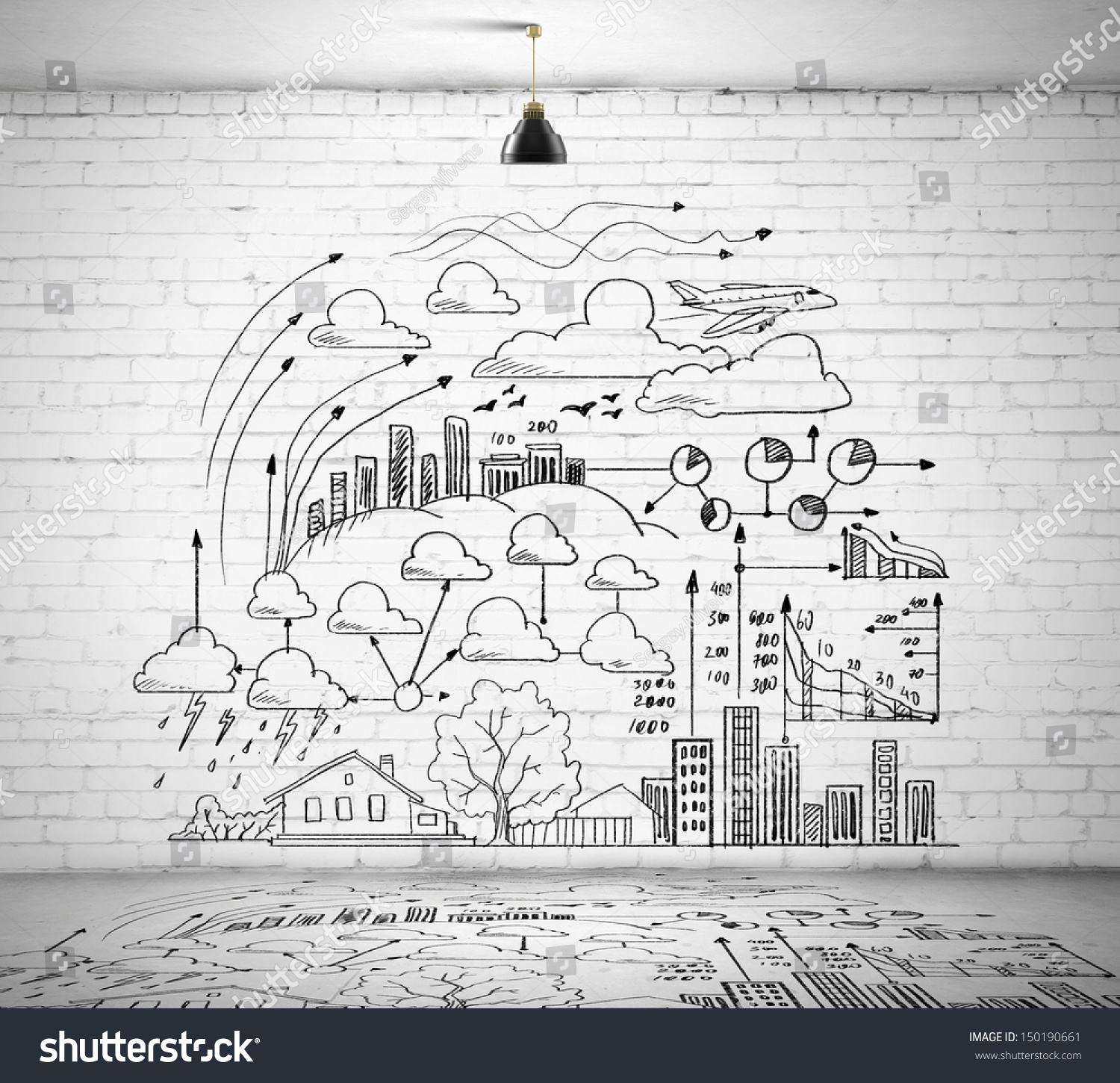 sketch drawing ideas on wall collage stock photo 150190661