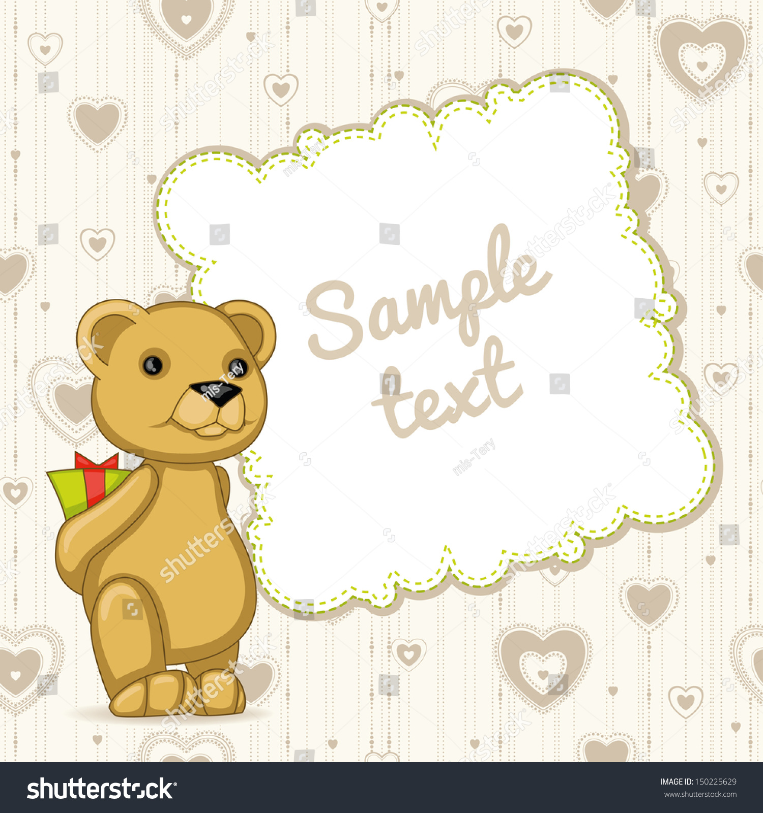 Template Card Teddy Bear Hearts Stock Vector HD (Royalty Free ...