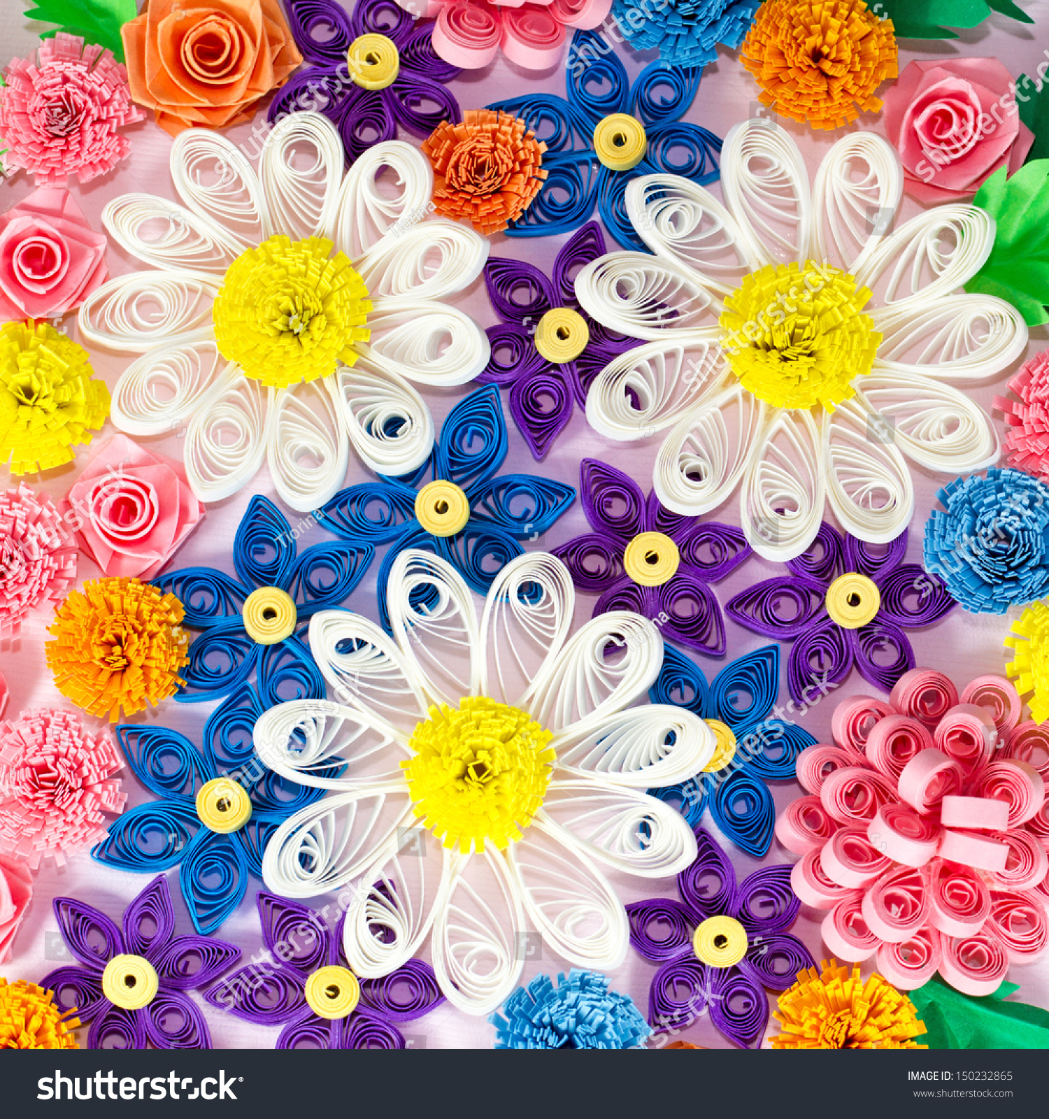 Colorful Paper Quilling Flowers Macro Stock Photo Edit Now