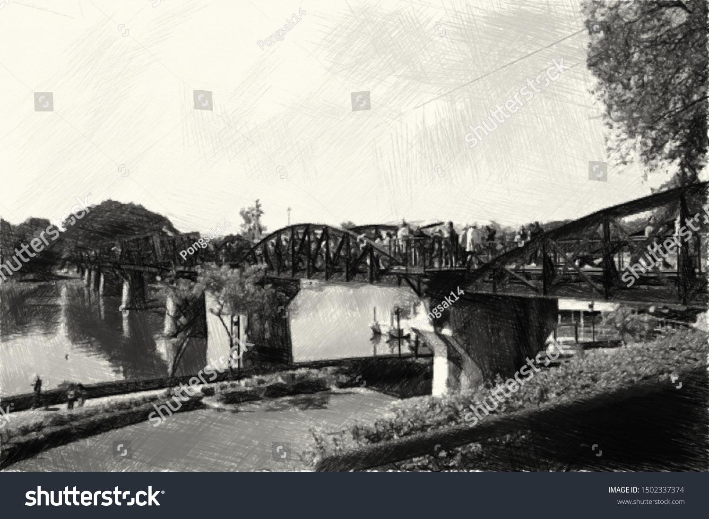 Art Drawing Black White Train Bridge Stock Illustration 1502337374