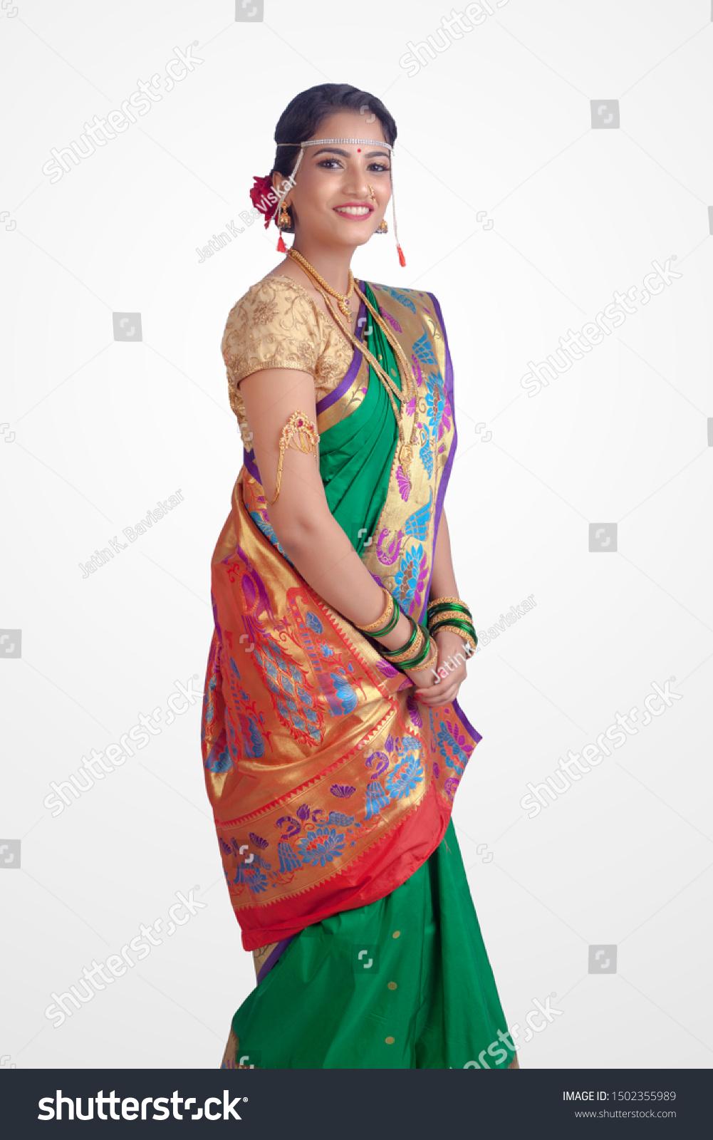Beautiful Indian Marathi Bride Traditional Green Stock Photo Edit Now 1502355989