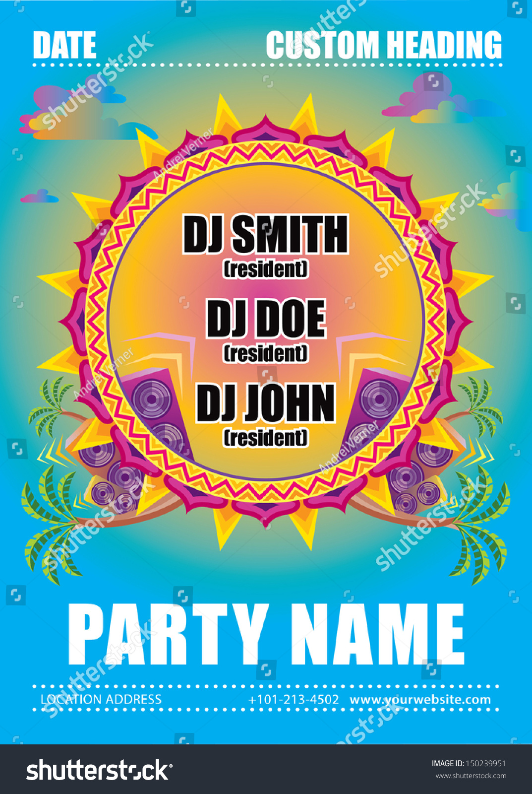 House music beach party flyer vector stock vector for House music party