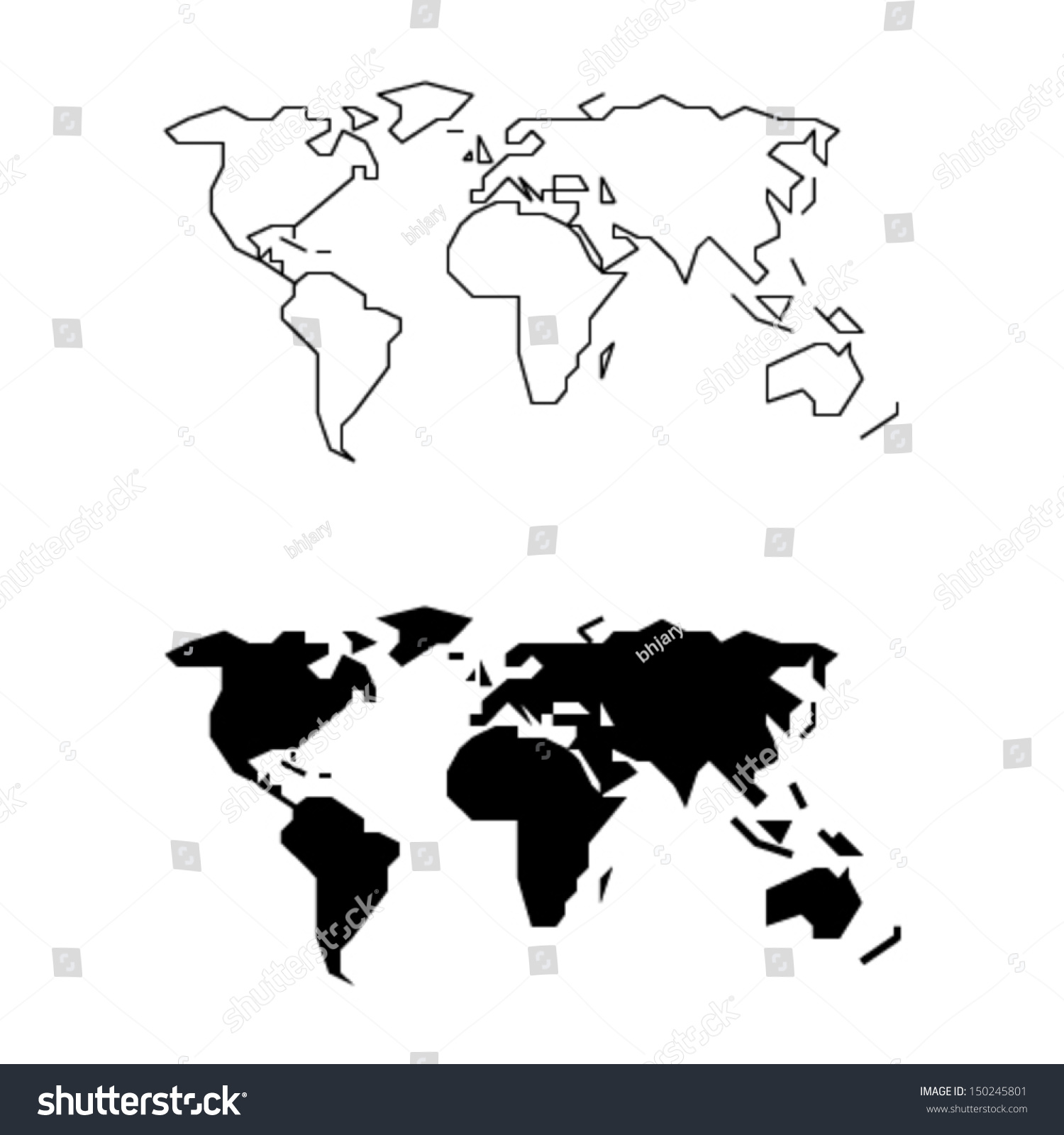 Simplified World Map Straight Lines Less Stock Vector Royalty Free