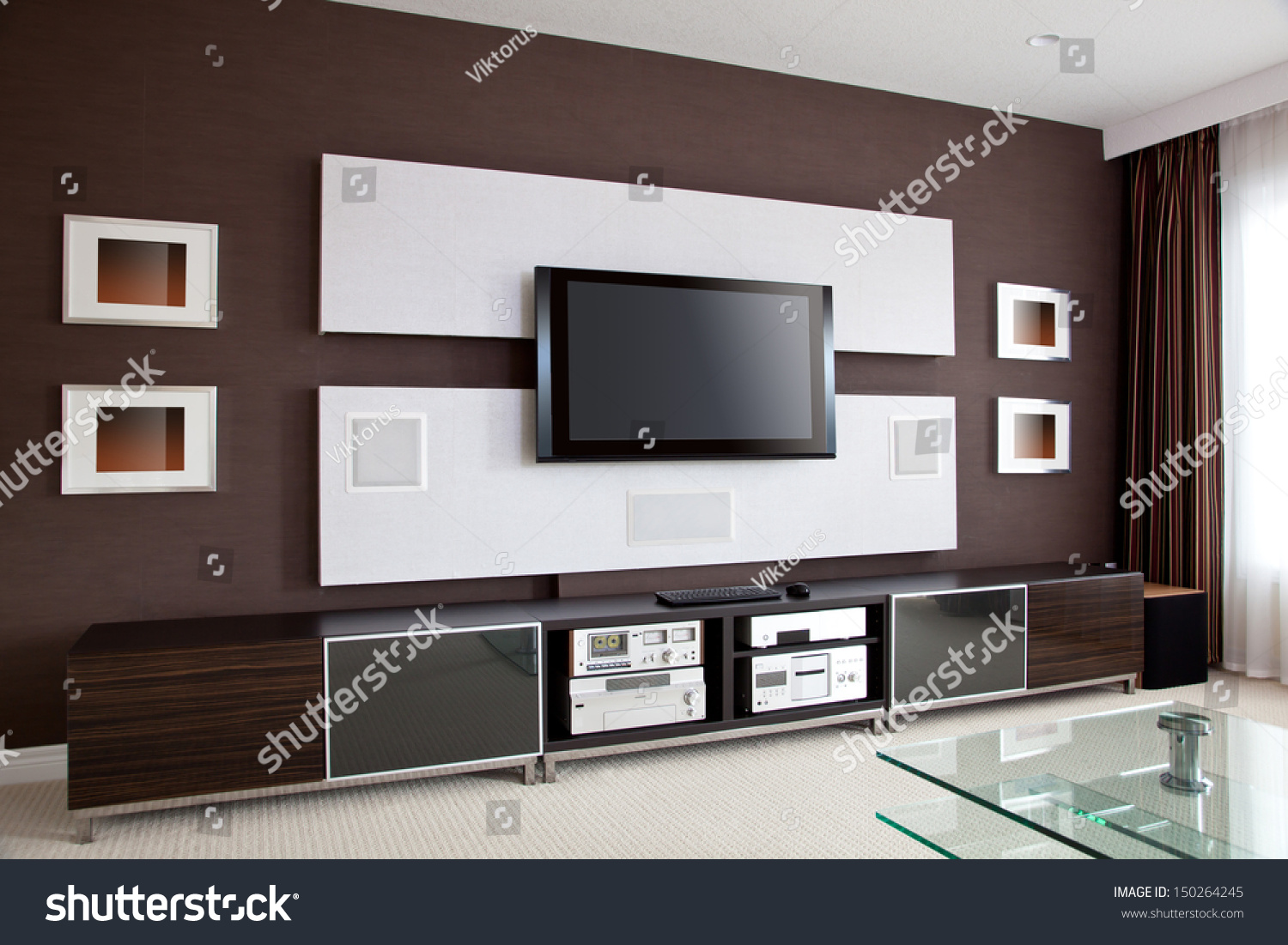modern home theater room interior flat stock photo 150264245