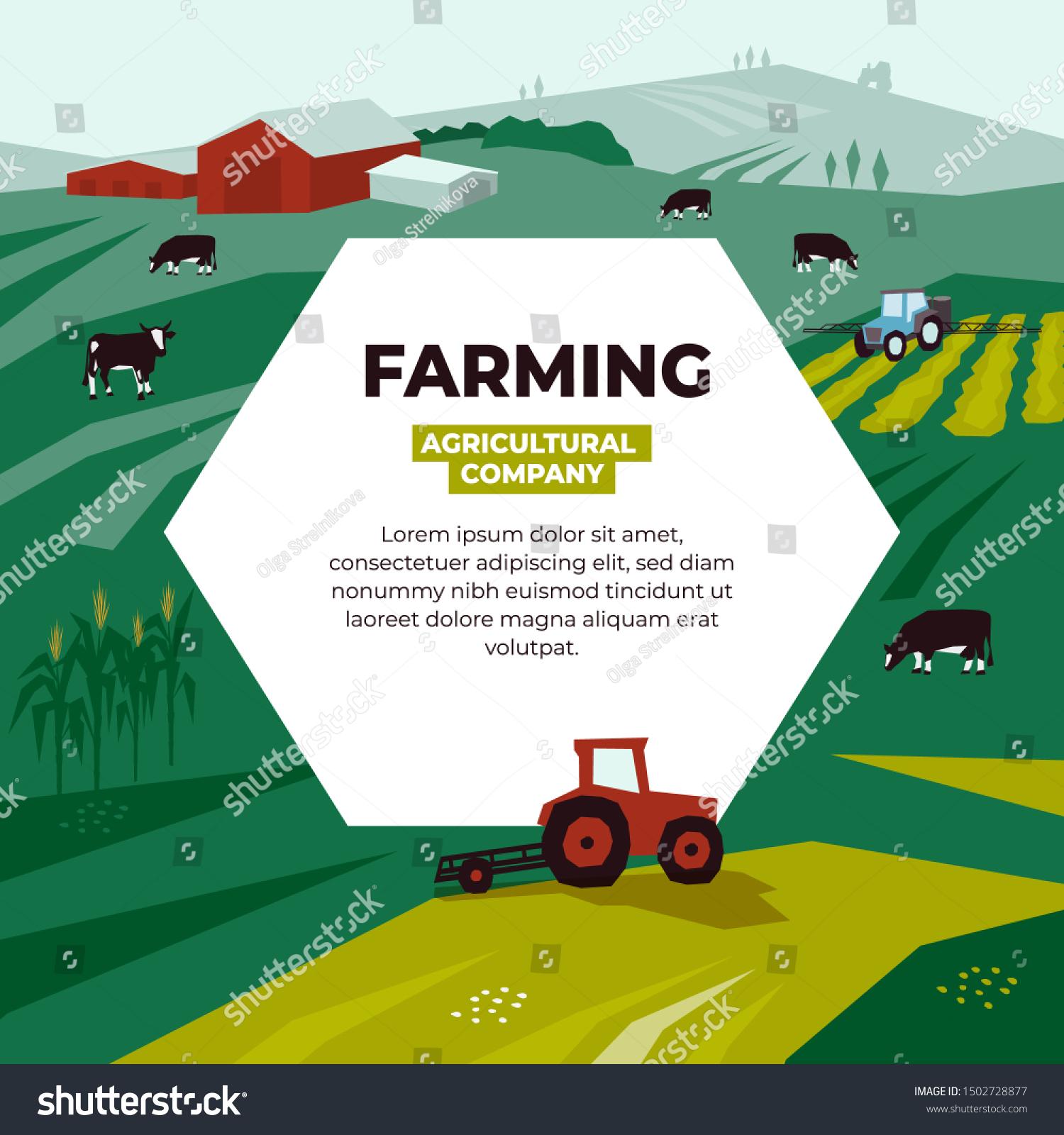 Vector Illustration Farming Farm Land Pasture Stock Image