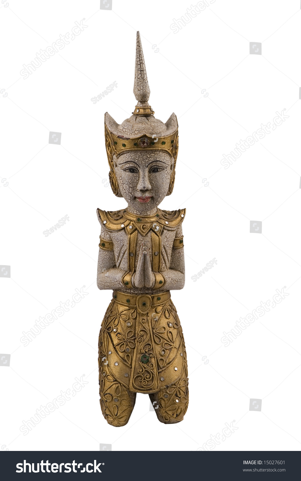 Sawatdee lady statue traditional thai greeting stock photo sawatdee lady statue of a traditional thai greeting lady isolated with clipping path kristyandbryce Images