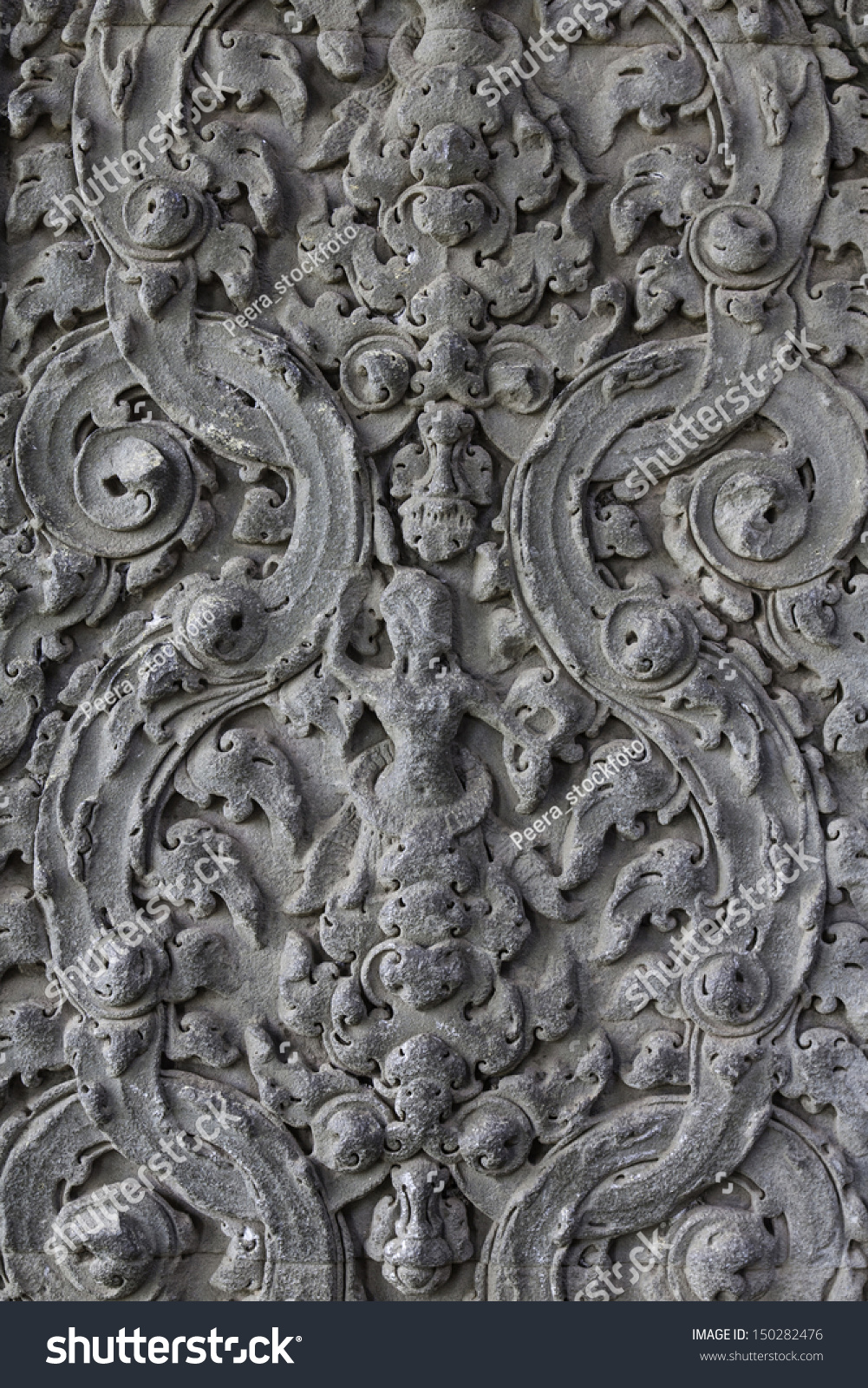 Handmade carvings cambodia pattern on wall stock photo edit now