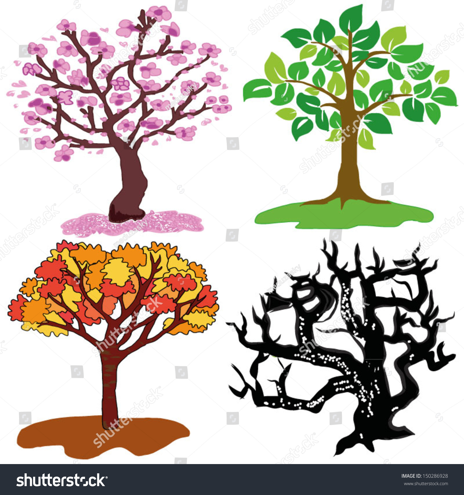 Four Season Trees Hand Draw Spring Stock Vector 150286928