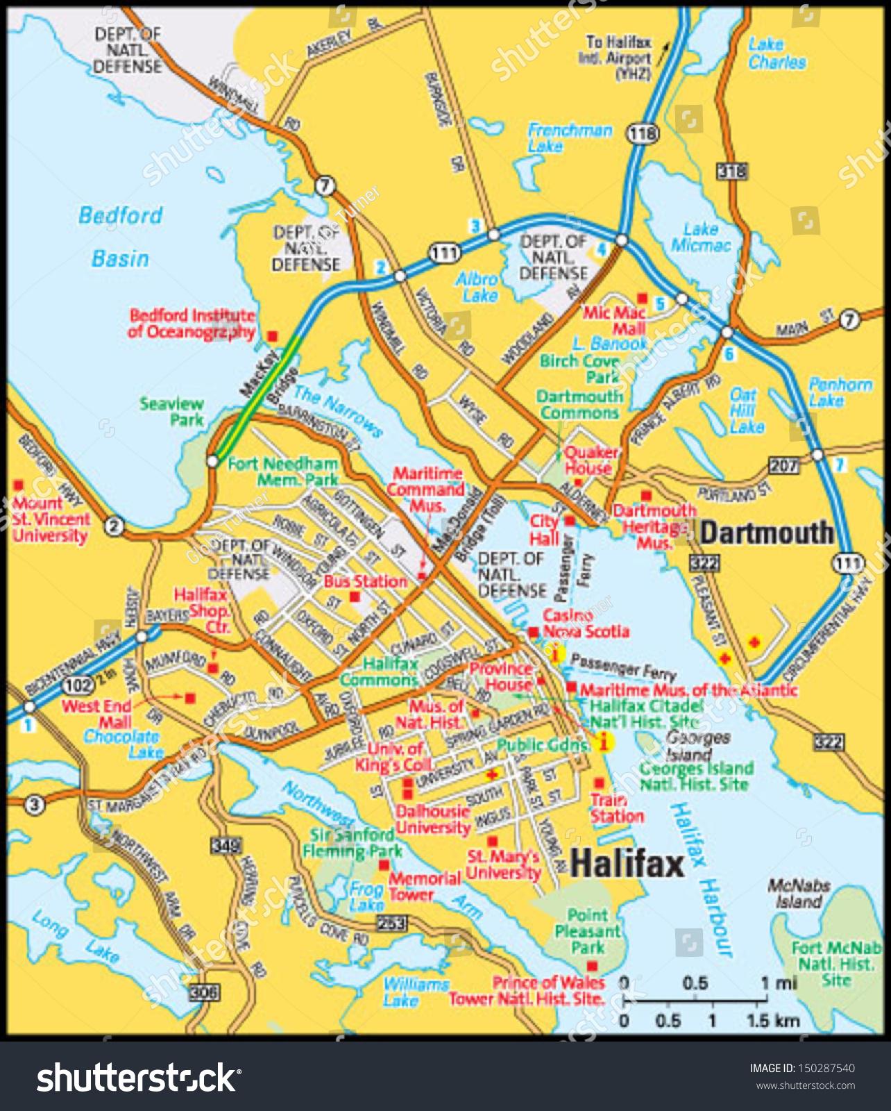 Halifax Nova Scotia Area Map Stock Vector Shutterstock - Nova scotia map