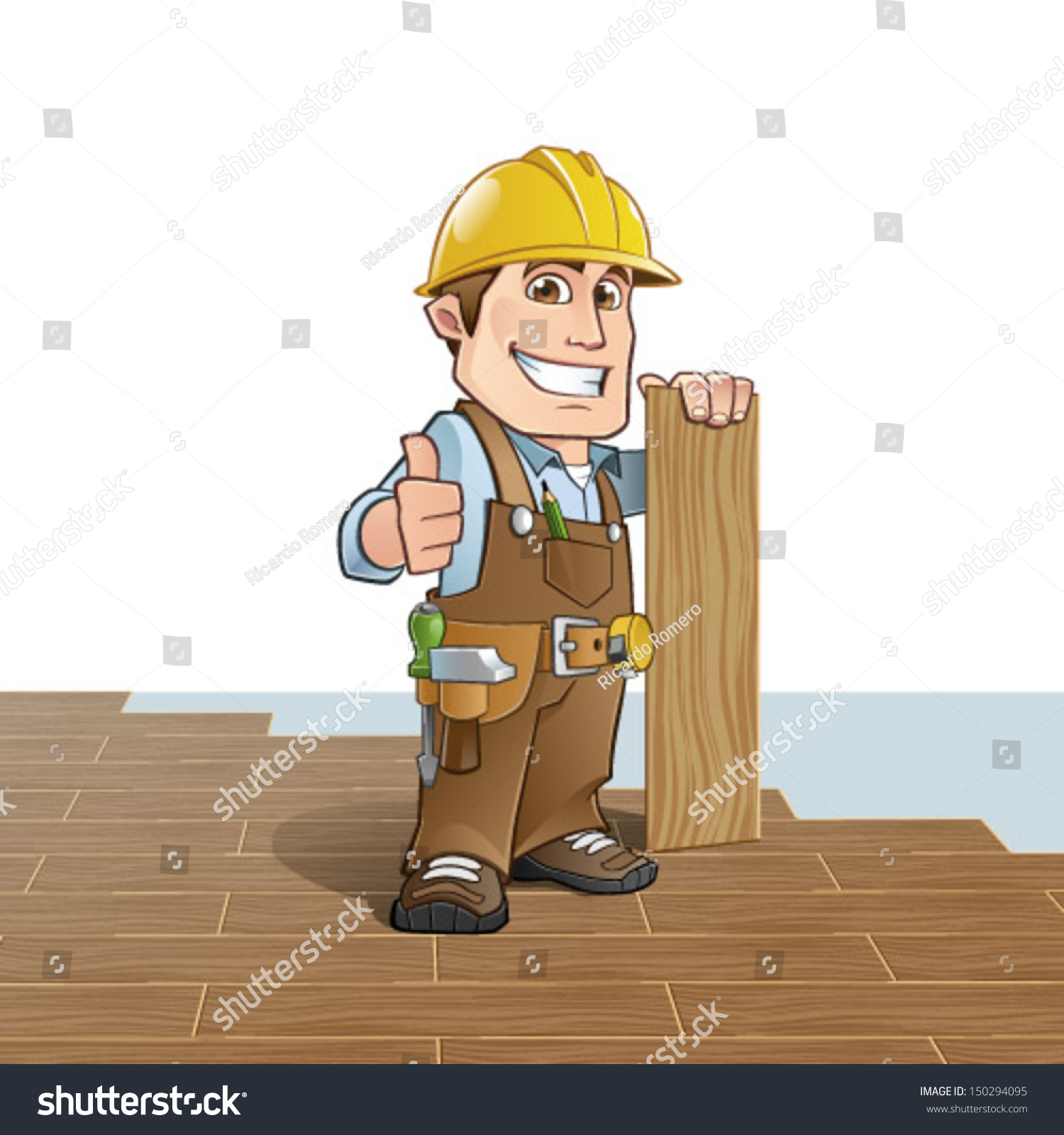 Carpenter installing wood flooring stock vector for Flooring installation