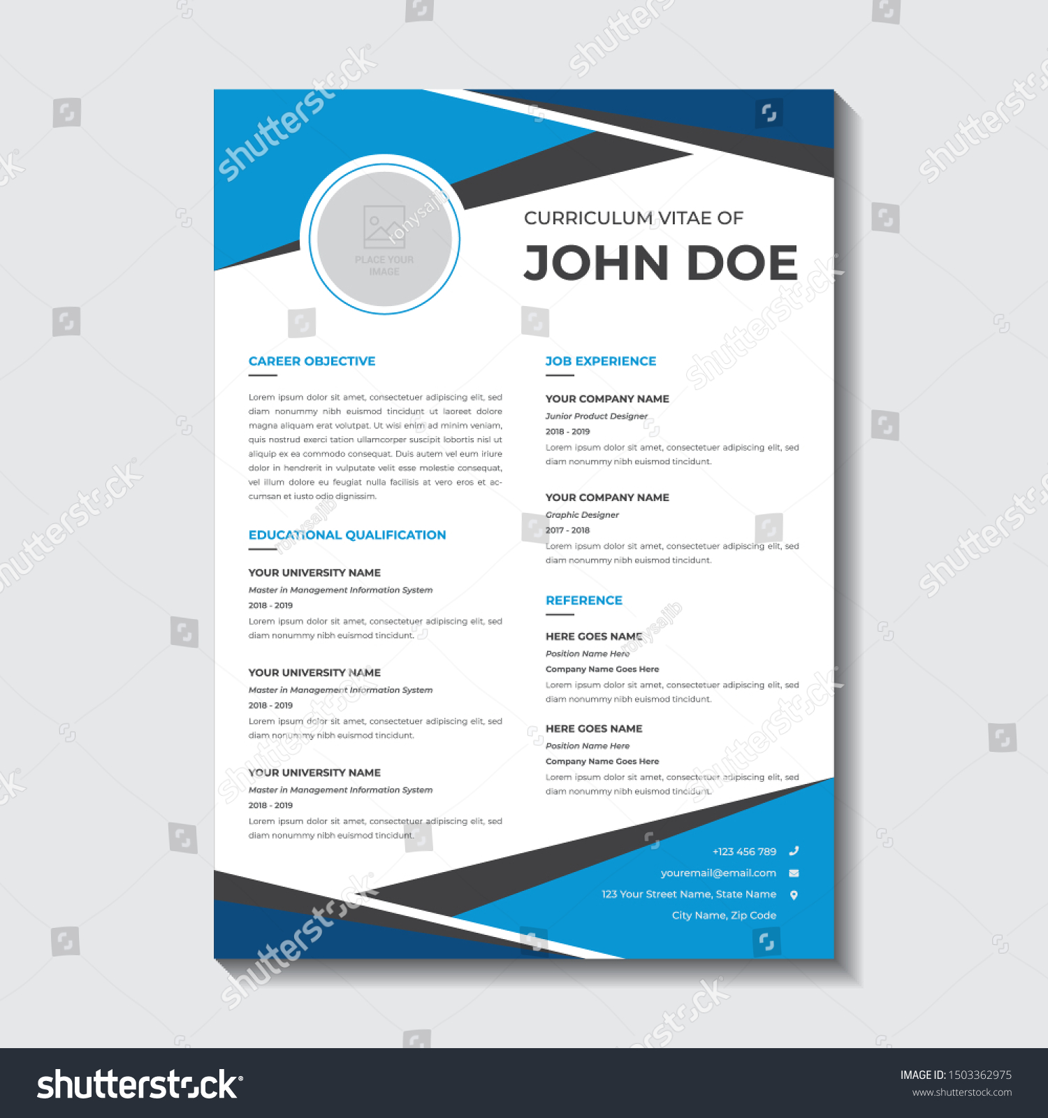 Single Page Resume Template from image.shutterstock.com