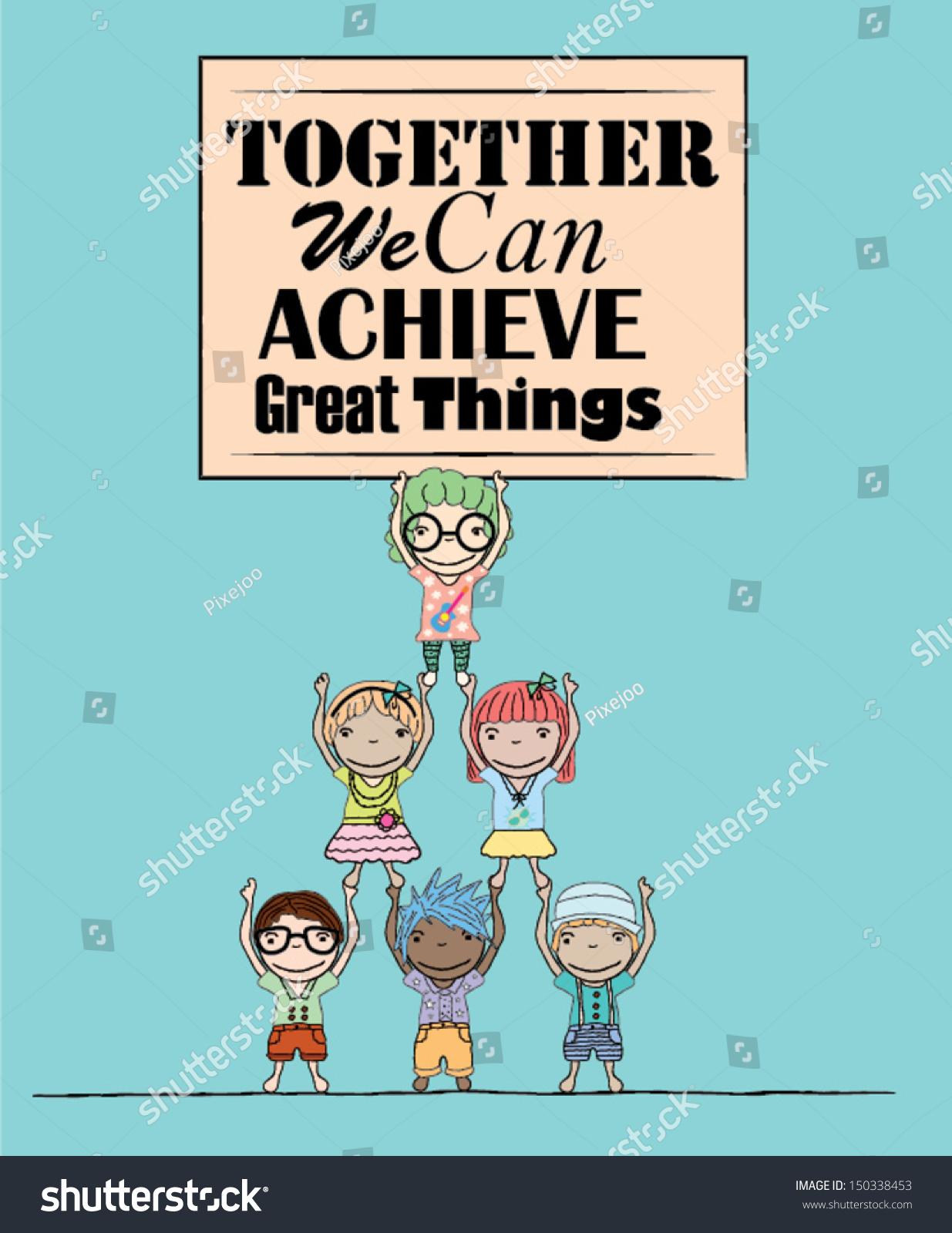 teamwork poster kids illustration stock vector 150338453