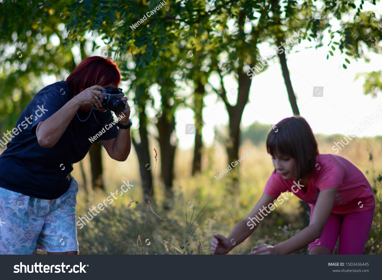 Beginner Elderly Female Photographer Learning Photography Stock