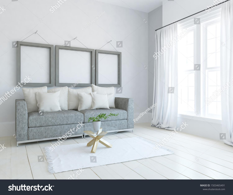White Minimalist Living Room Interior Furniture Stock