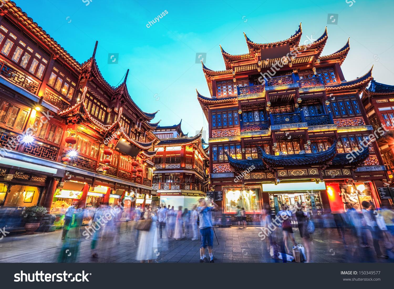 Beautiful yuyuan garden nighttraditional shopping area for Chinese in the area