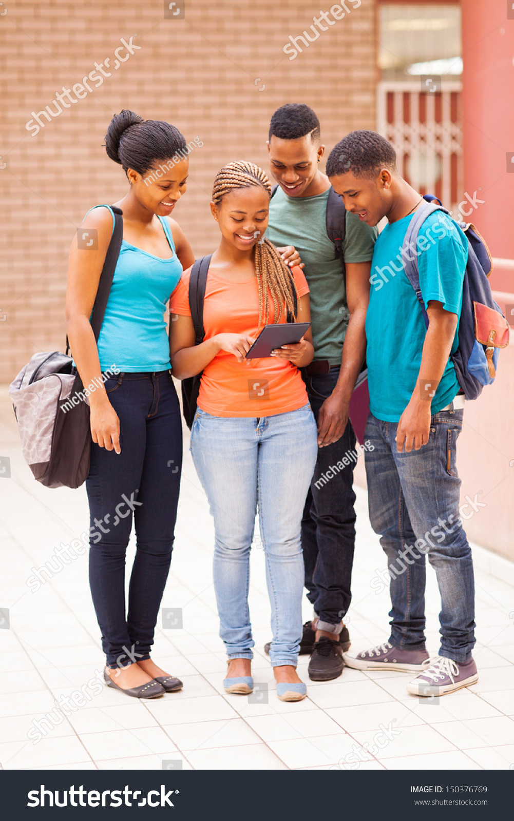 Group Cute African American College Students Stock Photo