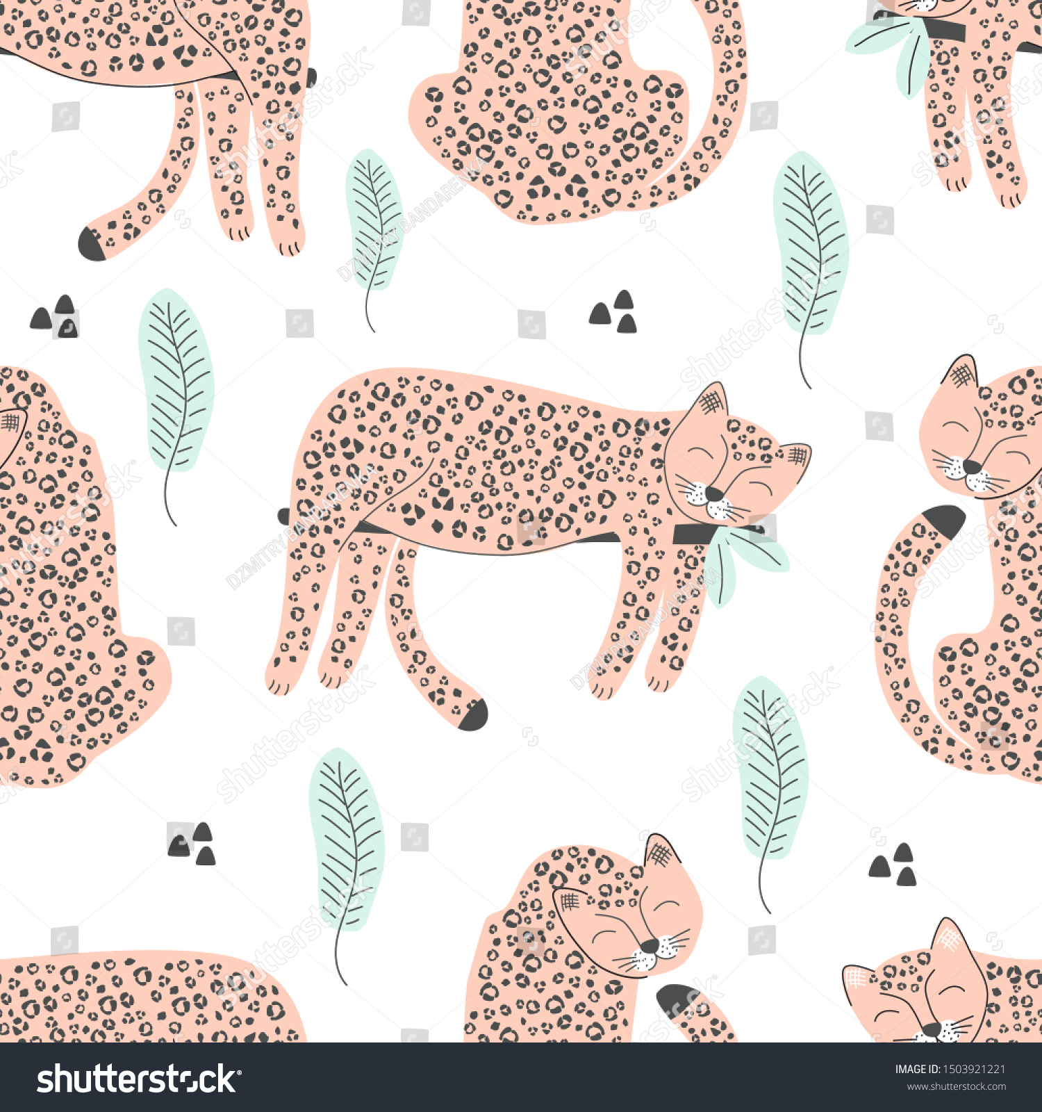 Seamless Pattern Pink Leopard Print Vector Stock Vector Royalty Free 1503921221