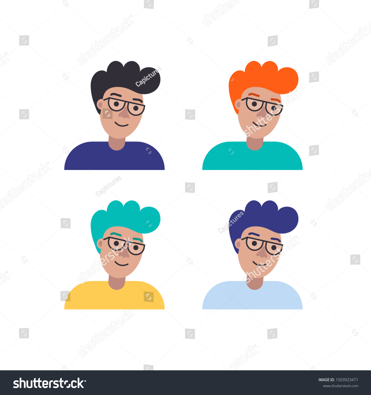 Four Smiling Boys Curly Hair Different Stock Vector Royalty Free