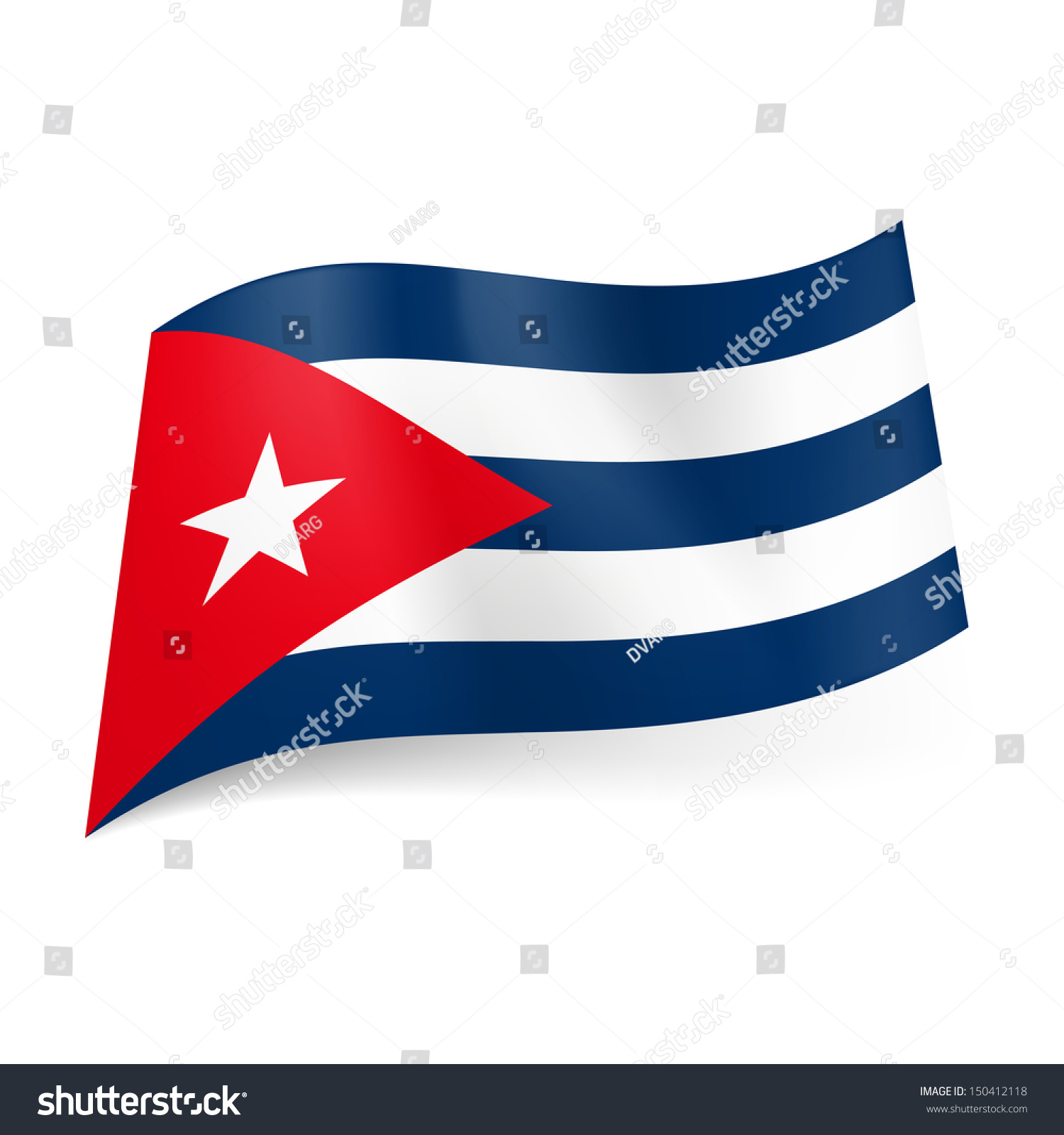 National Flag Of Cuba Blue And White Stripes Red