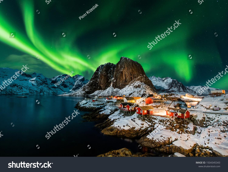 Aurora borealis over Hamnoy in Norway #1504345343