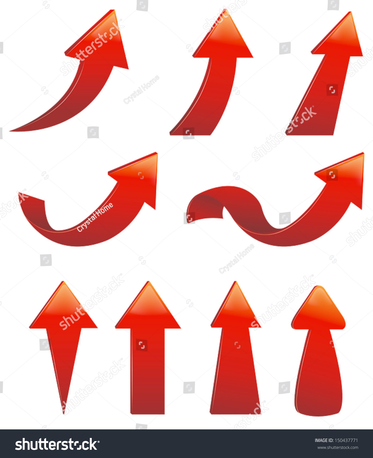 Type Various Red Arrow Sign Symbol Stock Vector Royalty Free