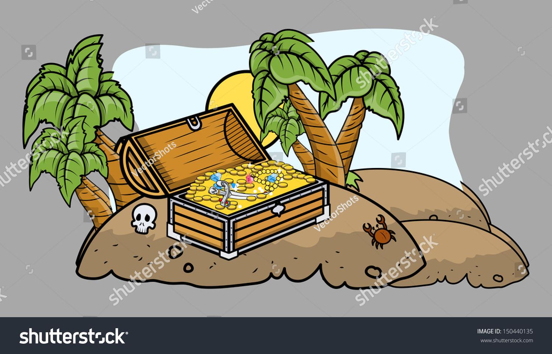 pirate treasure box on island cartoon stock vector 150440135