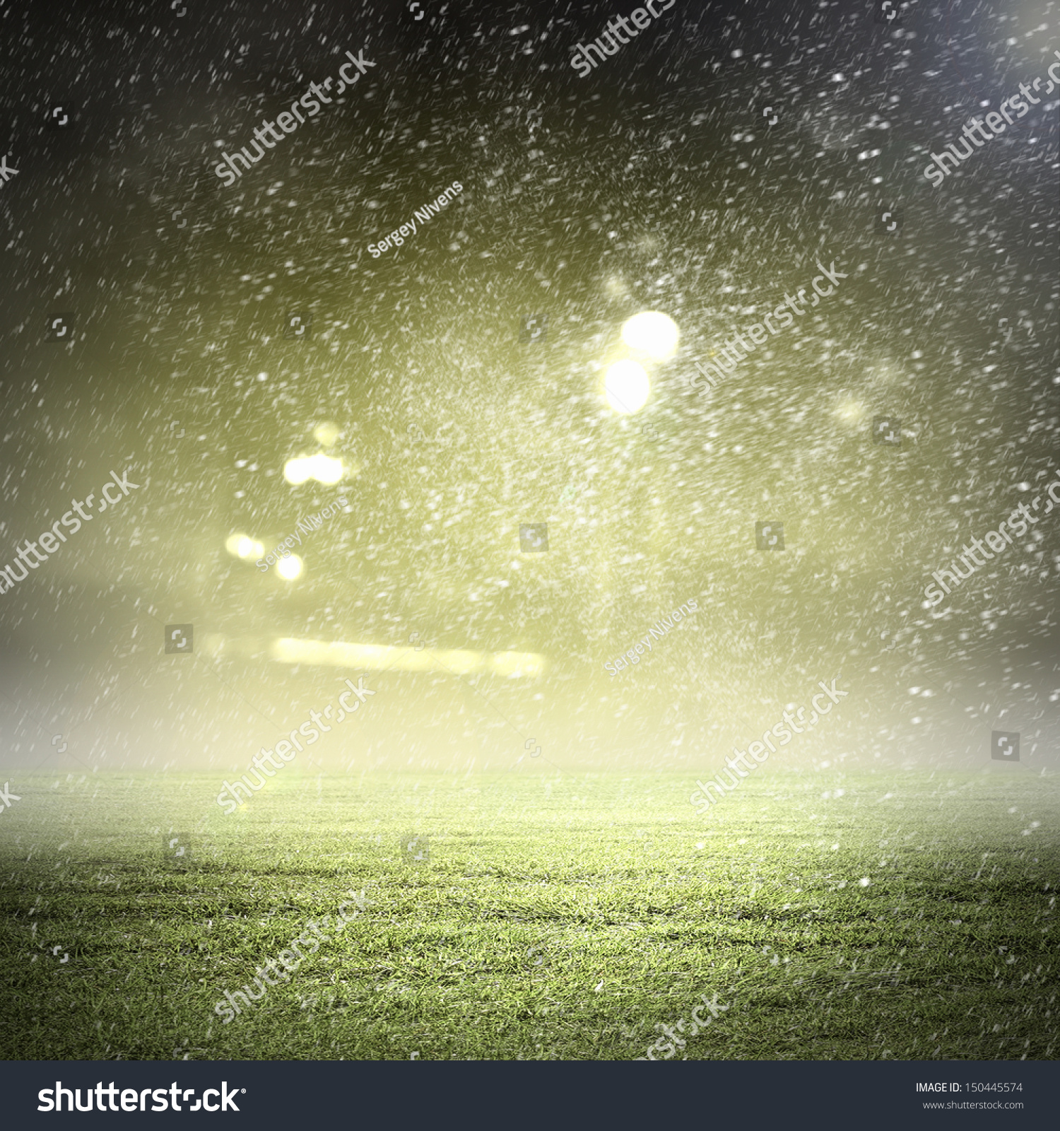 Stadium In Lights And Flashes: Image Of Stadium In Lights And Flashes Stock Photo