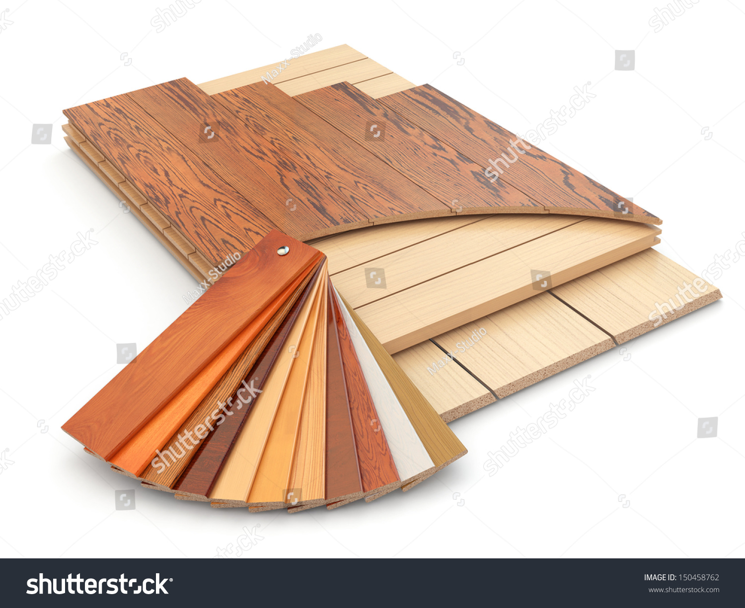 Installing laminate floor and wood samples 3d stock photo for 3d laminate flooring
